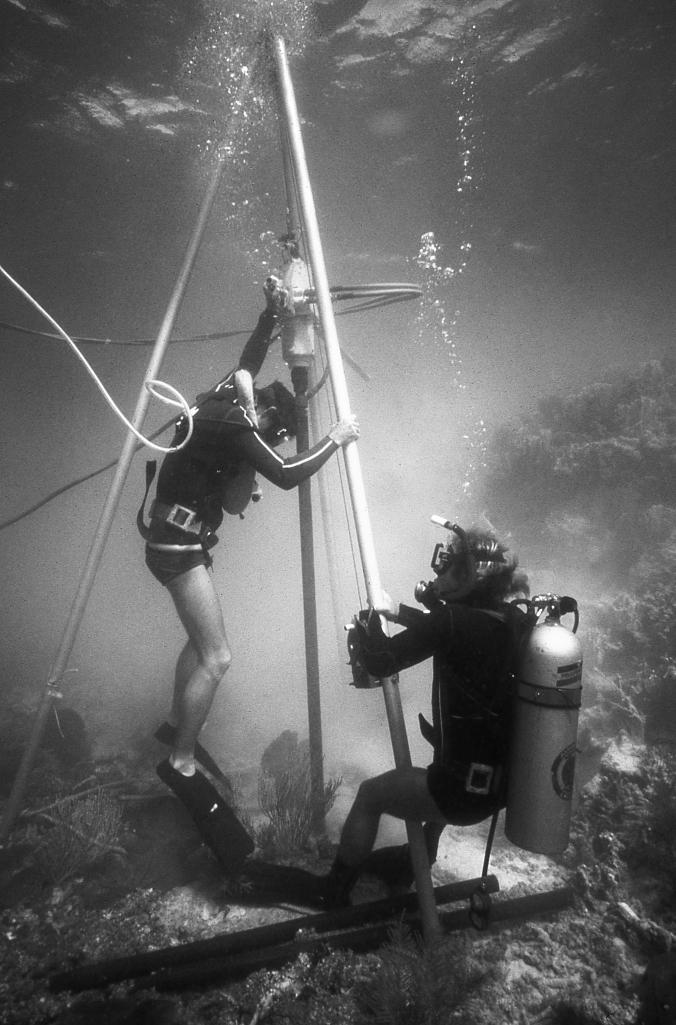Gene and Dan Robbin coring the reef in Belize.
