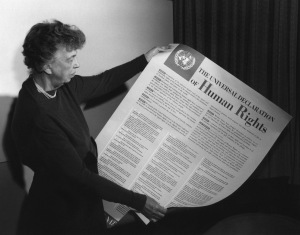 Eleanor Roosevelt holding a copy of the Declaration of Human Rights, November 1949. Courtesy of the Franklin D. Roosevelt Library and Museum.