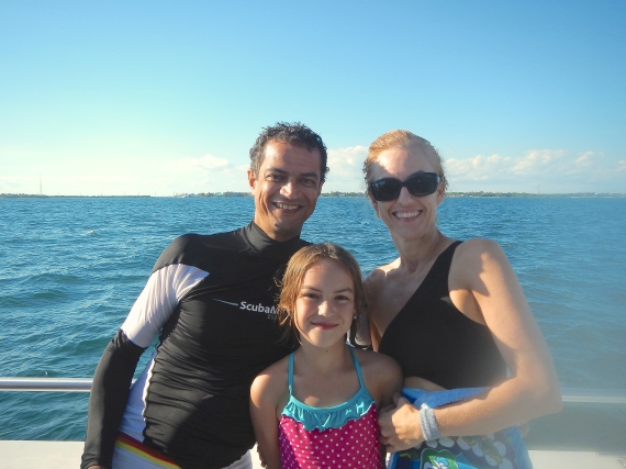 The author and her family enjoying a boat ride while snorkeling in The Florida Keys.