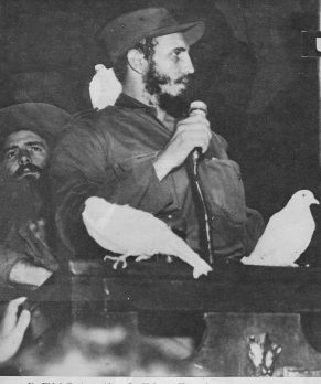 Castro's victory speech in Havana, Camp Columbia, January 8, 1959. Camilo Cienfuegos stands behind him. Source: Bohemia, January 11, 1959.