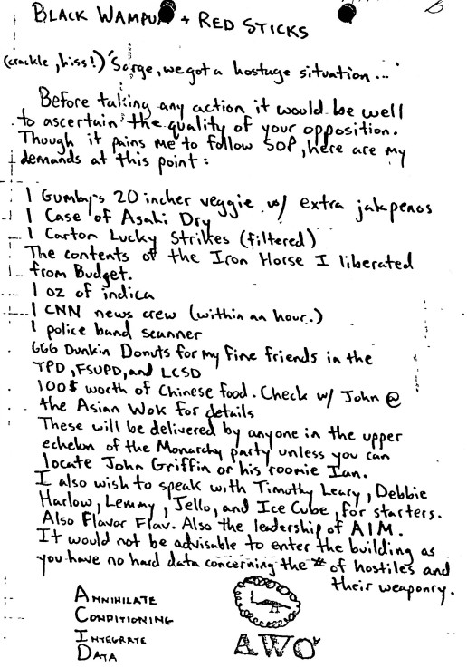 """The list of demands that Marshall Ledbetter left for police during his occupation of the capitol, titled """"Black Wampum + Red Sticks."""""""