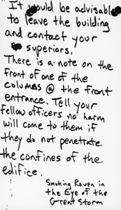 The first note Marshall Ledbetter left for police during his occupation of the capitol building on June 14, 1991.