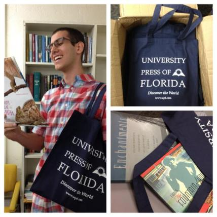 Marketing intern Alex tests UPF's new tote bags