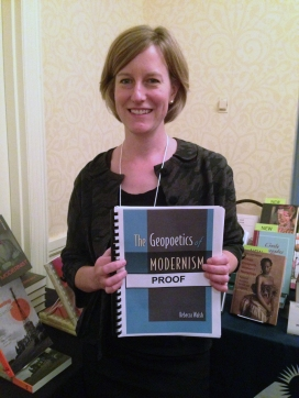 Rebecca Walsh with an advance copy of her book at the Modernist Studies Association conference in Pittsburgh last November.