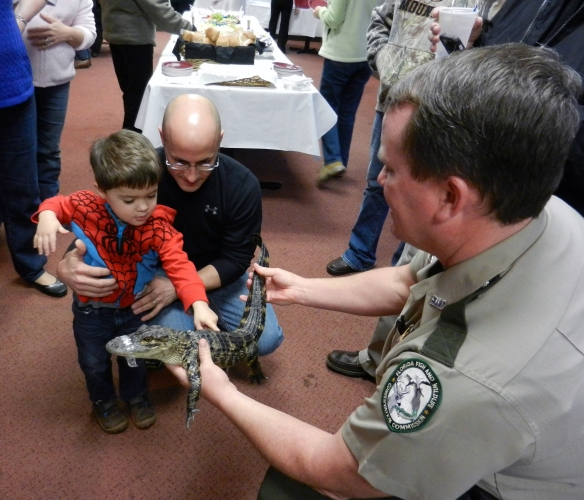 Florida Fish and Wildlife Officer Eric Meade (from chapter 23) at the Putnam County Community Read kickoff event