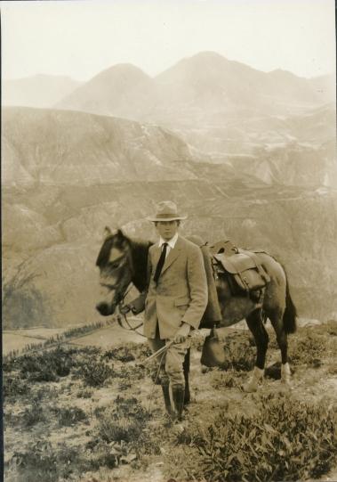 Wilson Popenoe on the equator in Malchingui, Ecuador, in 1921. Photo courtesy of Hunt Institute of Botanical Documentation, Carnegie Mellon University, Pittsburgh.