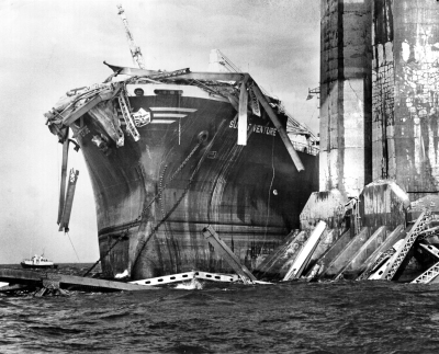 On May 9, 1980 the Summit Venture, debris from the bridge hanging from its bow, is pictured shortly after it rammed the Sunshine Skyway bridge in Tampa Bay. Courtesy of Tampa Bay Times.
