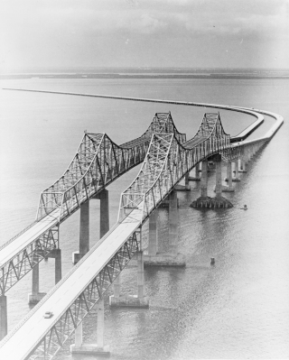The ill-fated twin Sunshine Skyway span was opened in February 1971. It would last a little over nine years. Courtesy of Florida Archives.