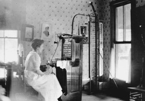 Woman operates switchboard