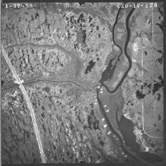 "By 1958 the north fork of the St. Lucie had been dredged, and spoil deposits are clear. (University of Florida, ""Aerial Photographs of St. Lucie County—Flight 1V [1958],"" Map and Imagery Library, Gainesville)."