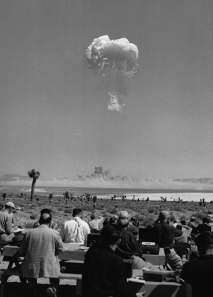 Tumbler-Snapper shot Charlie. On April 22, 1952, some 200 reporters and photographers from the nation's leading media were invited to witness an atomic bomb test in Nevada. By permission of the U.S. Department of Energy.
