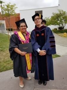 Michael Calabrese (right) and medieval literature student Elsi Mendez (left).