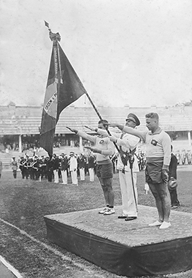 """Olympic Day"" celebration organized by the Confederação Brasileira Desportos, June 19, 1932, held at the stadium of the Fluminense Football Club. By permission of the Acervo Flu-Memória."