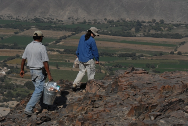 Christina Conlee and project codirector Aldo Noriega at the highest elevation of La Tiza, collecting pottery.