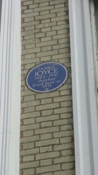 Blue plaque for James Joyce at 28b Campden Grove
