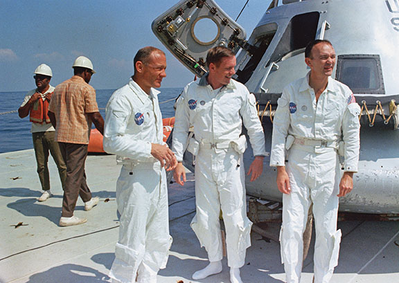 Aldrin, Armstrong, and Collins (left to right) during recovery training on the deck of MV Retriever in the Gulf of Mexico (off the coast of Galveston, Texas) on May 24, 1969. (NASA)