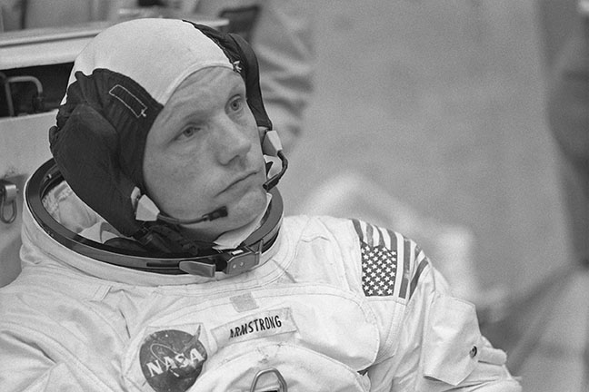 Armstrong is contemplative following the June 18 session. He had recently received thousands of suggestions regarding what his first words on the Moon should be. (NASA)