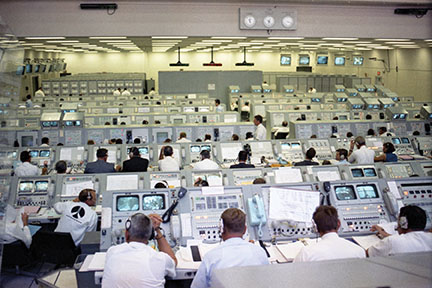 Government and industry engineers monitor the Apollo 11 CDDT in firing room 1 on July 2, 1969. Approximately 450 persons were present during the test. (NASA)