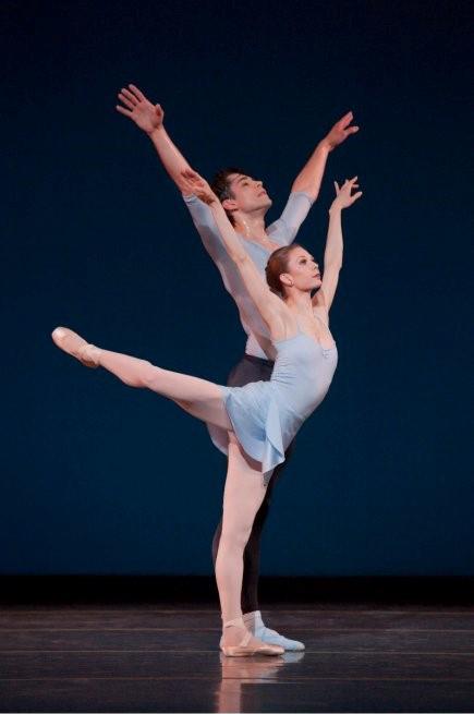 "Oregon Ballet Theatre principal dancers Gavin Larsen and Artur Sultanov in George Balanchine's ""Duo Concertant."" Photo by Blaine Truitt Covert."